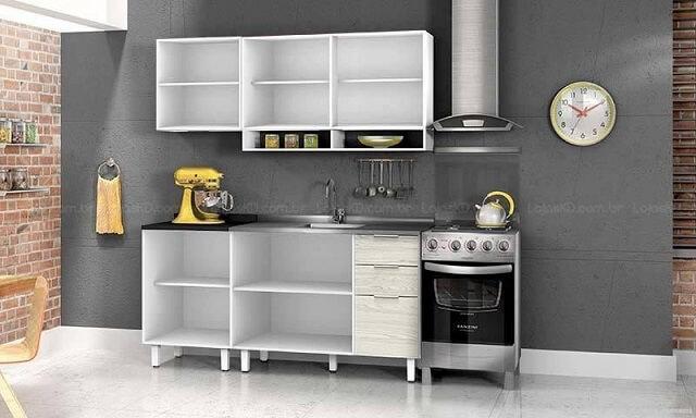 Cozinha modulada com armário sem portas Projeto de Lojas KD
