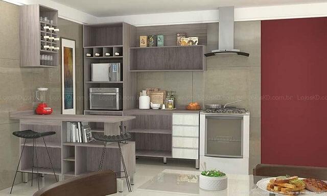 Cozinha modulada com armário sem portas e adega Projeto de Lojas KD