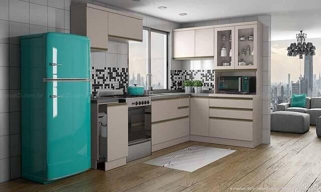 Cozinha modulada com armários bege Projeto de Lojas KD