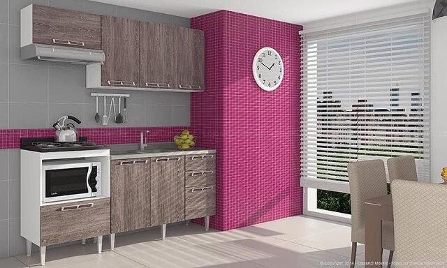 Cozinha modulada com armários de madeira e nicho para forno Projeto de Lojas KD