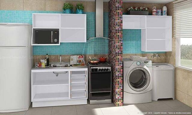 Cozinha modulada com módulos iguais aos da área de serviço Projeto de Lojas KD