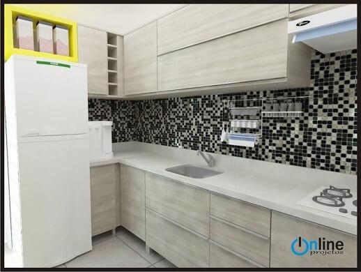 Cozinha planejada com móveis discretos em bege Projeto de Online Projetos