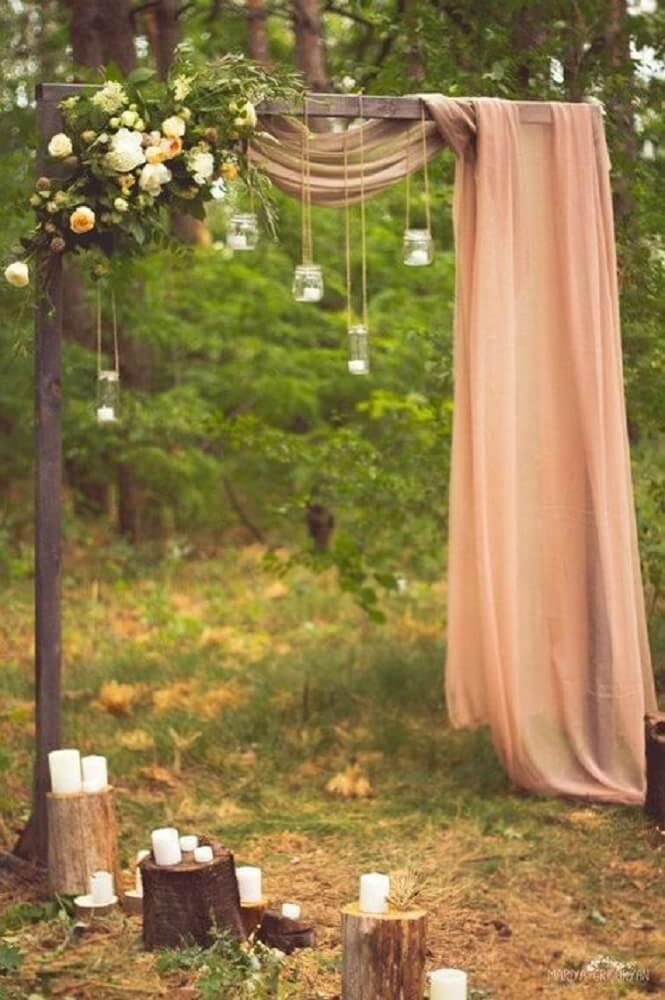Decoração de casamento rústico e romântico