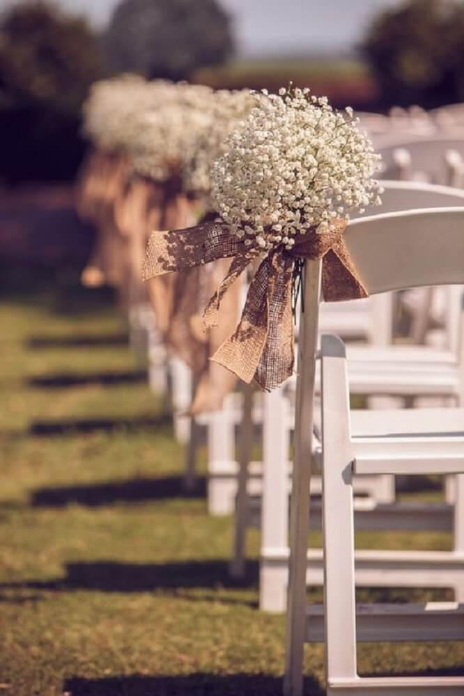 Decoração de casamento rústico com juta