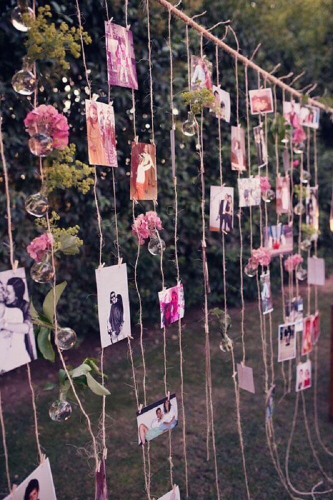 Decoração de casamento simples com varal de fotos