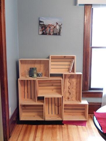 Estante de caixote de feira de madeira