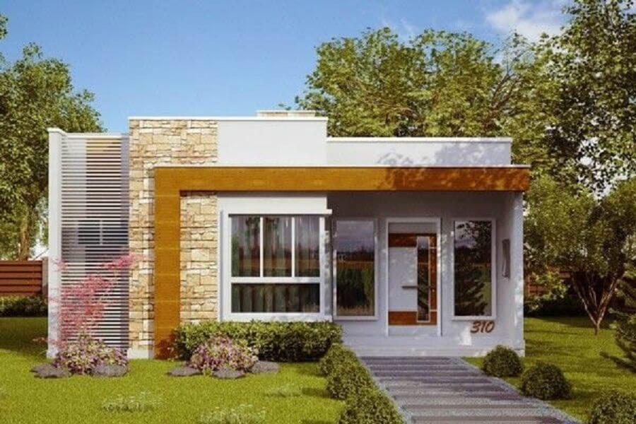 Fachada de casa com texturas diferentes
