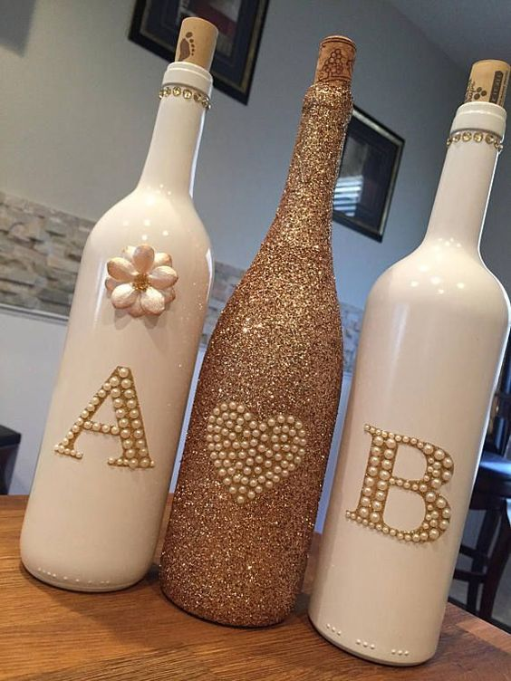 Garrafas Decoradas - garrafas brilhosas