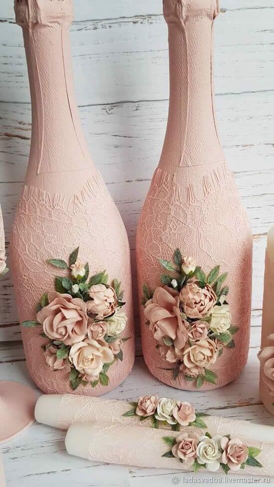 Garrafas Decoradas - garrafas de champanhe com flores