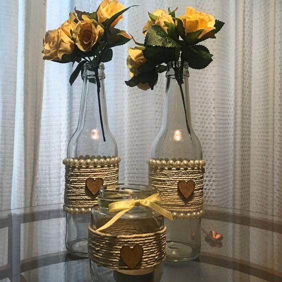 Garrafas Decoradas - garrafas como vaso decoradas