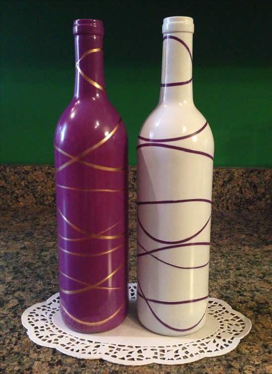 Garrafas Decoradas - garrafas roxa e branca