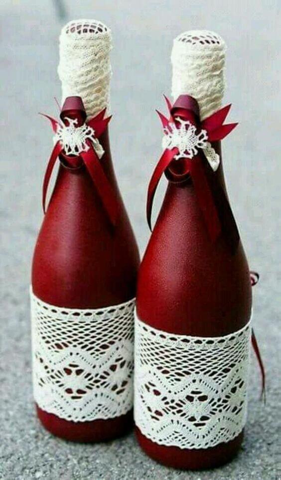 Garrafas Decoradas - garrafas de champanhe vermelhas