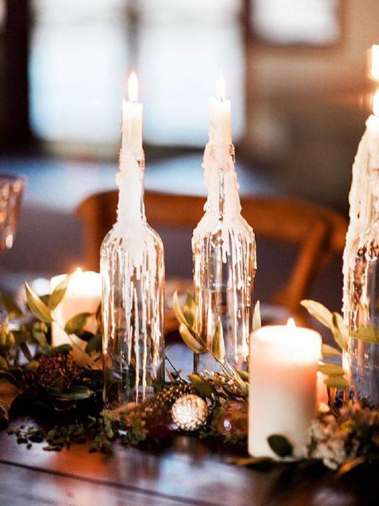 Garrafas decoradas com velas