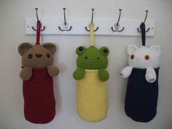 Modelos de puxa saco em crochê com cabeça de bichinhos