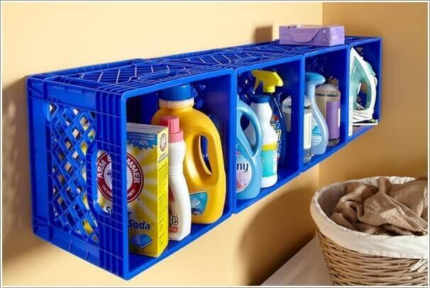 Nicho de caixote de feira de plástico para produtos de limpeza