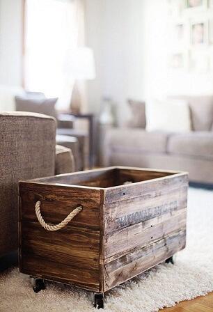 Organizador de caixote de feira madeira com rodinhas