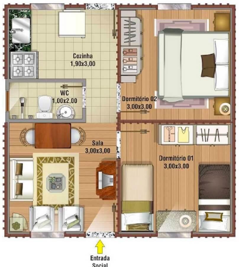 Projeto de casa pequena bem dividido