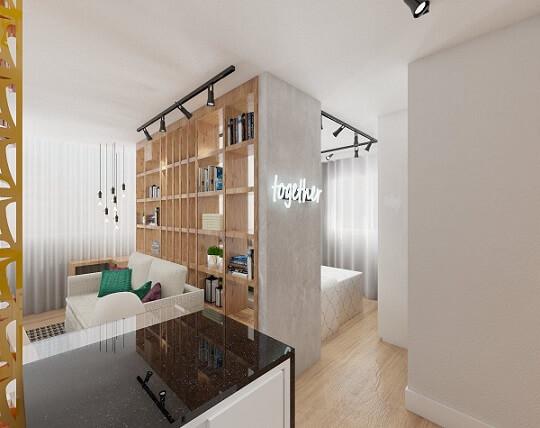Projetos de casas com ambientes integrados por prateleira vazada Projeto de Jessica Campos