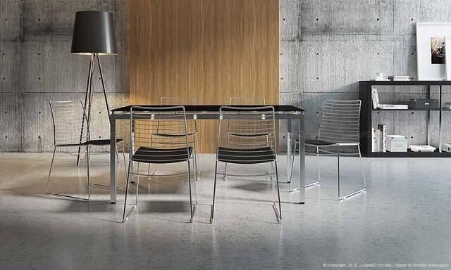 Projetos de casas modernas com cadeiras de aço e tons de cinza Projeto de Lojas KD