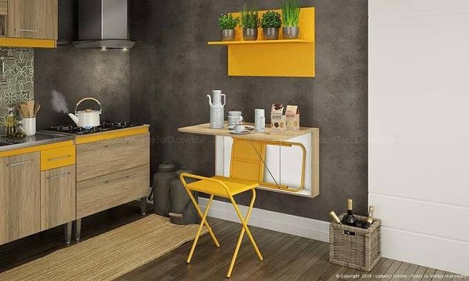 Projetos de casas pequenas com mesa dobrável Projeto de Lojas KD