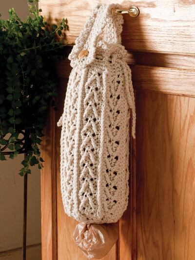 Puxa saco em crochê branco clássico