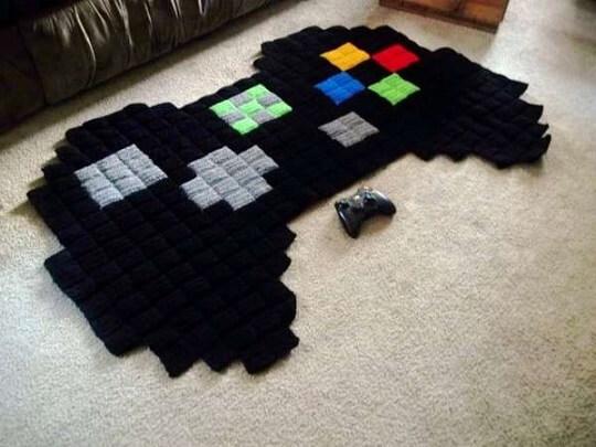 Quarto gamer com tapete de controle 8-bit