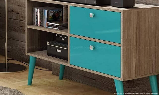Rack-com-gavetas-e-pés-azul-turquesa-Projeto-de-Lojas-KD