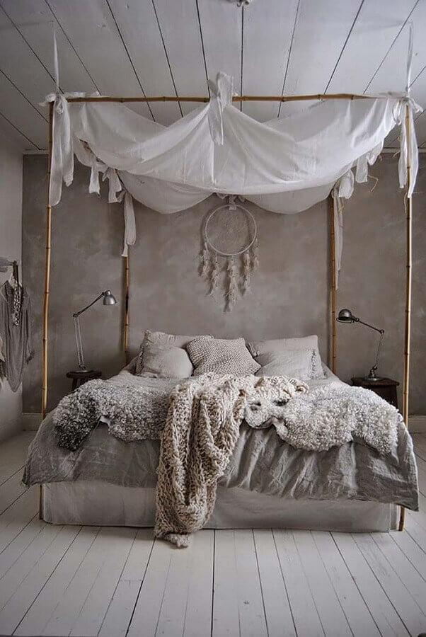 decoração de quarto tumblr com parede de cimento queimado e cama com dossel Foto TrenDecora