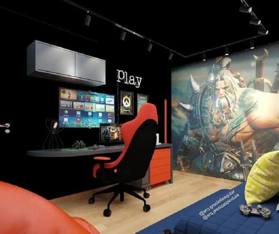 decoração moderna para quarto gamer preto Foto Arq. Grasielle Aguiar