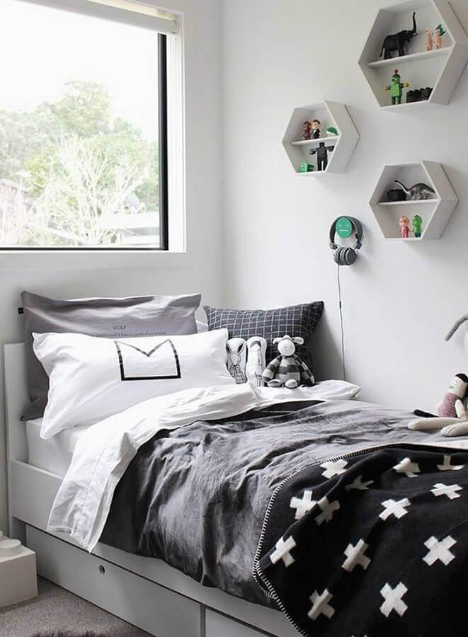 decoração para quarto tumblr preto e branco com nichos hexagonal Foto Radar Decoração