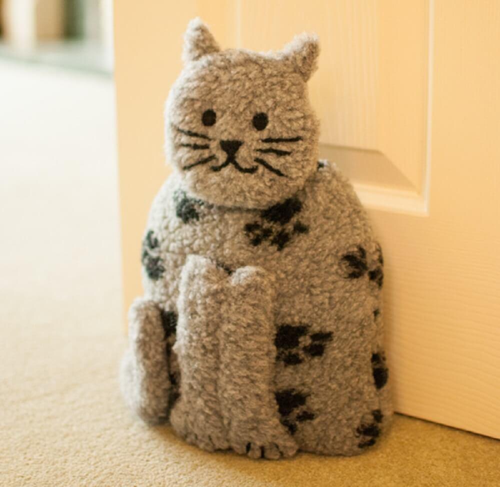 decoração peso de porta gato