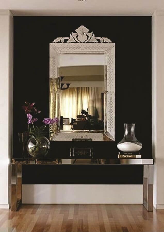 espelho decorativo para decoração moderna com aparador espelhado Foto Quadro a Quadro Molduras