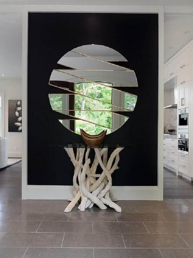 espelho decorativo redondo moderno com recortes vazados Foto Ideias para Decorar