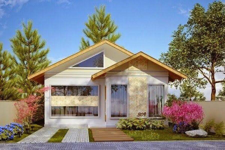 fachada de casa pequena com paisagismo