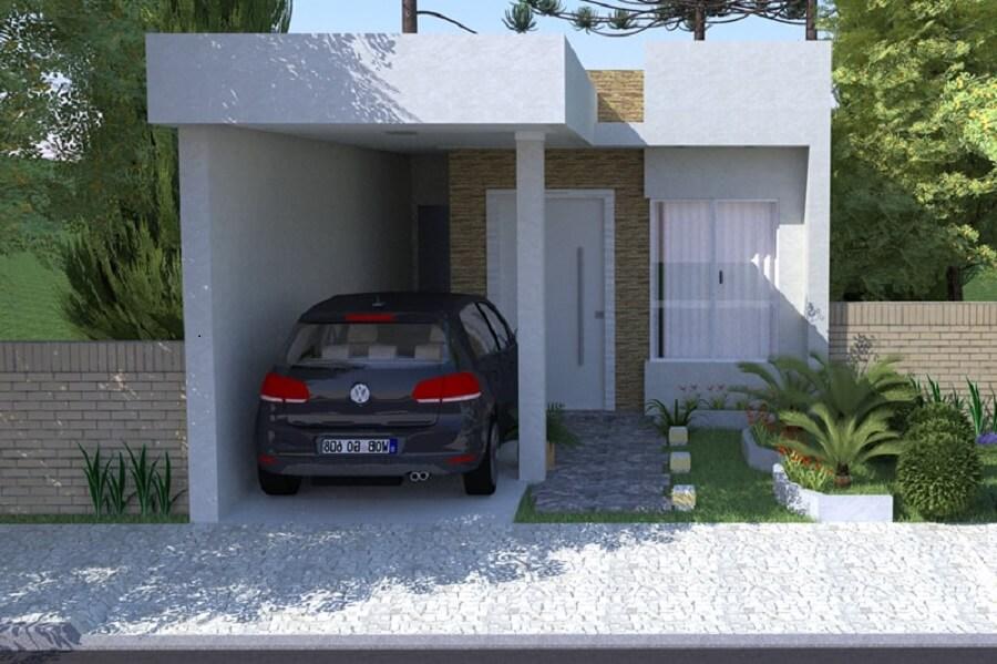 fachada de casa pequena simples e com garagem