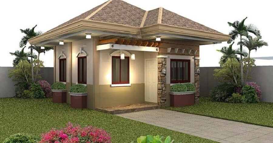 fachada de casas pequena bem iluminada