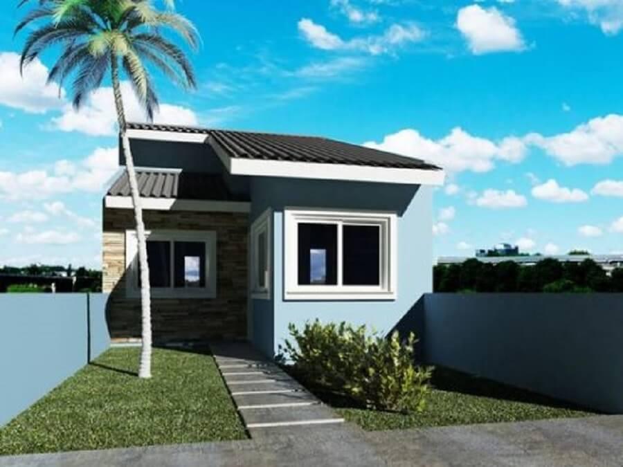 Fachada de casa pequena em tons de azul