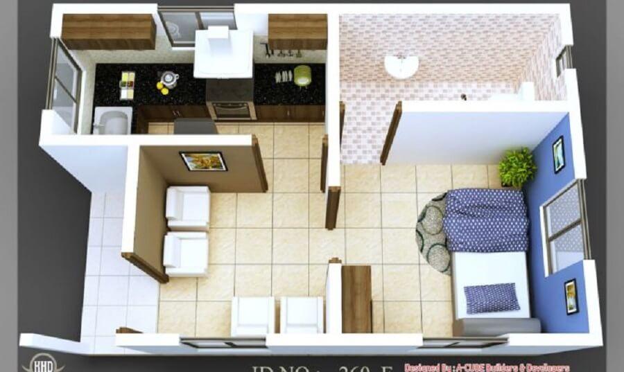 modelo de casa pequena com um quarto