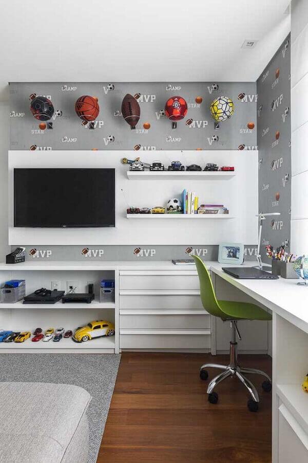 papel de parede para quarto gamer planejado Foto Ideias Decor