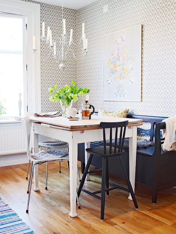 Lustre para sala de jantar pequena de metal