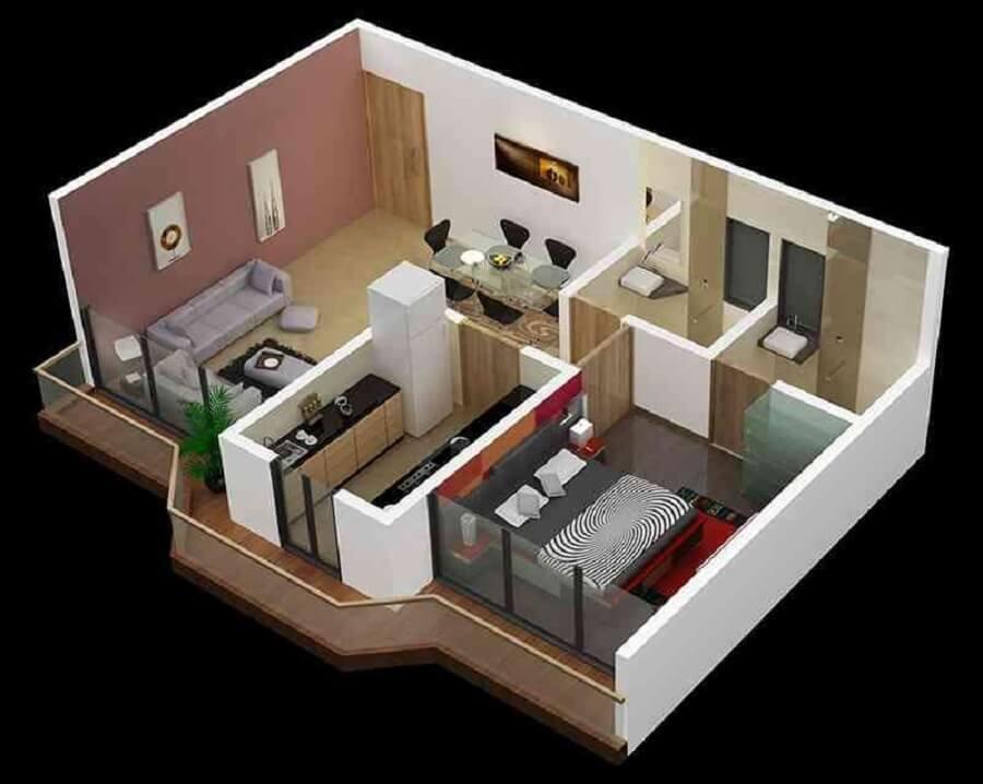 planta de casa pequena com dois banheiros
