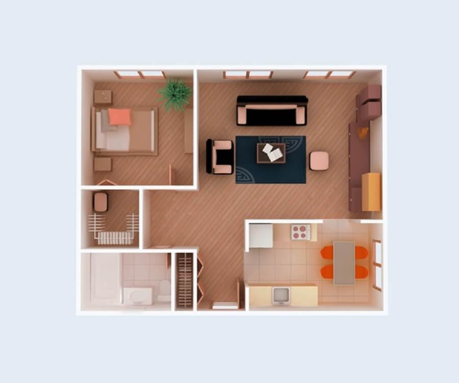 plantas de casas pequenas um quarto