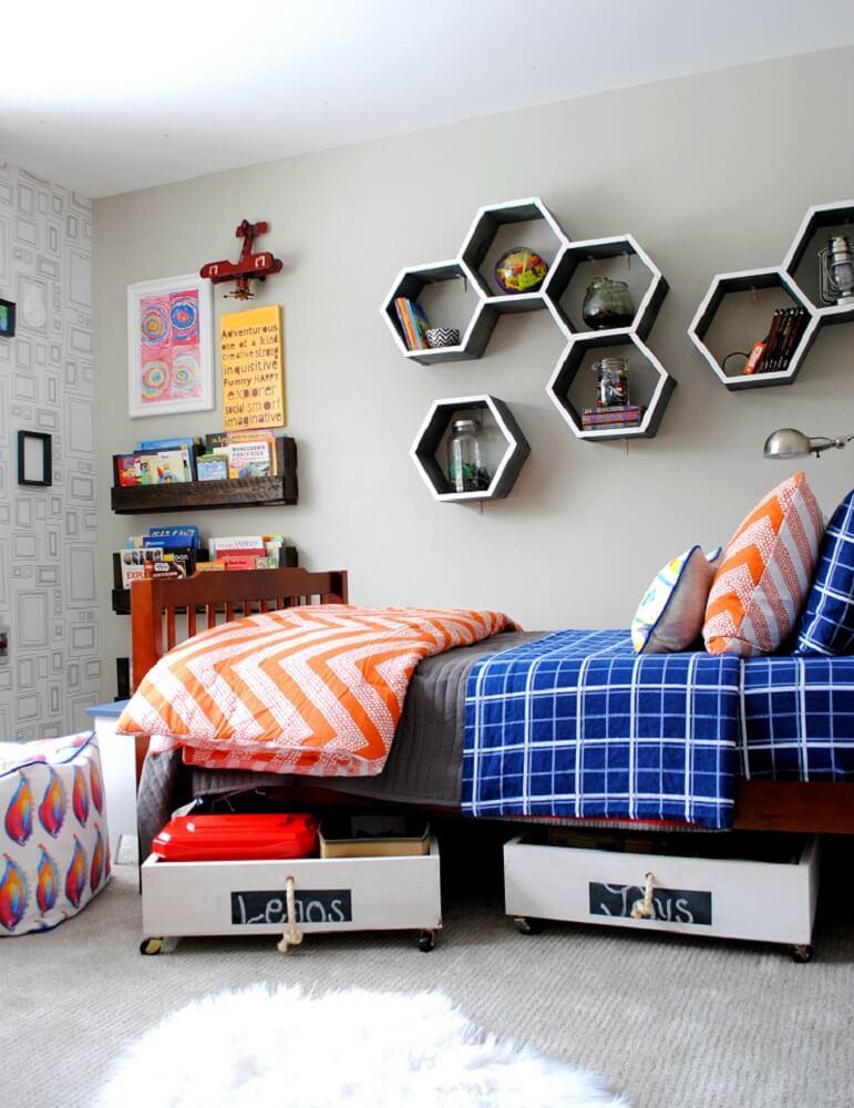prateleiras hexagonais para quarto