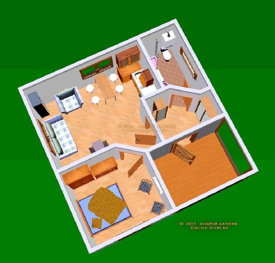 projeto de casa pequena com sala integrada a cozinha