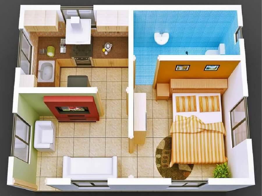 Casa pequena com planta simples