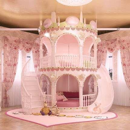 Quarto de princesa cor de rosa com escorregador