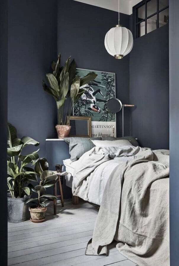 quarto tumblr preto decorado com vasos de plantas Foto Dicas Decor