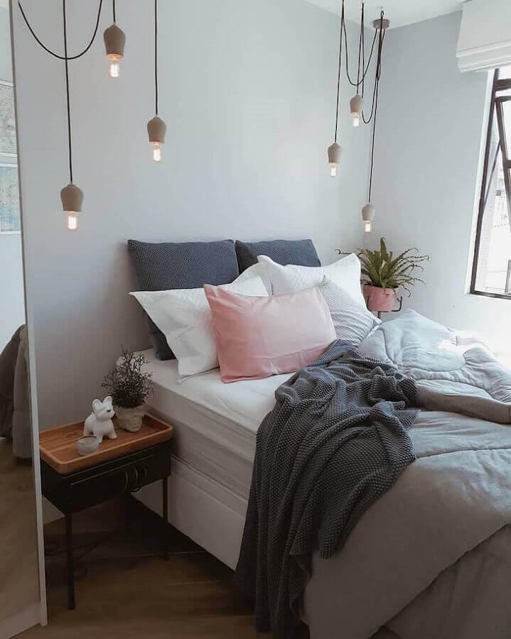 quarto tumblr simples decorado com pendente minimalista Foto Meu Apartamentinho