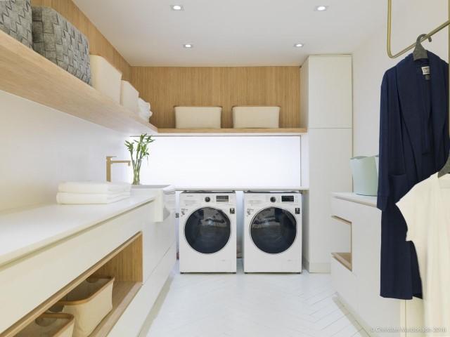 Área de serviço com duas máquinas de lavar Projeto de Casa Cor 2016