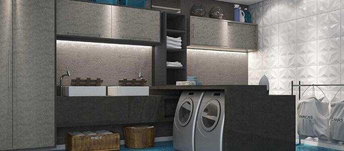 Área de serviço com duas máquinas de lavar Projeto de Marel